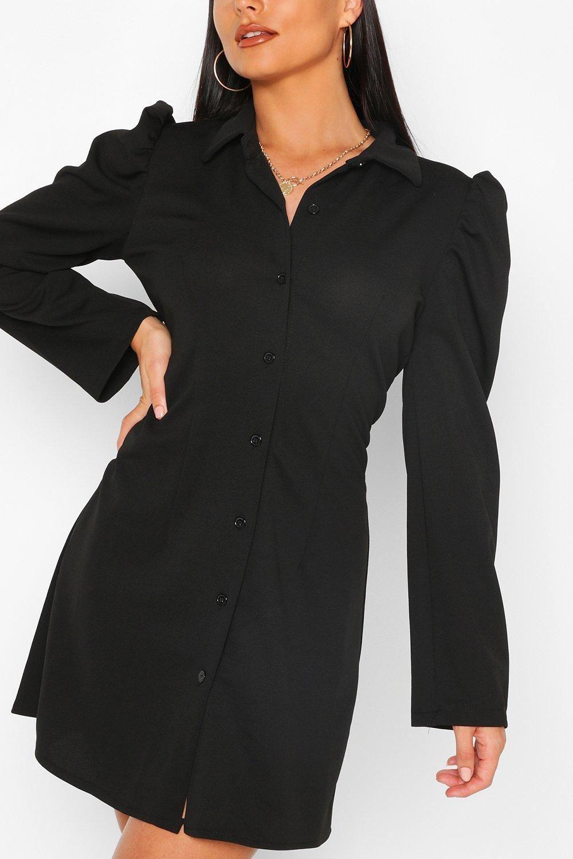 Button Through Fitted Shirt Dress Boohoo Shirt Dress Black Shirt Dress Bodycon Fashion [ 1500 x 1000 Pixel ]