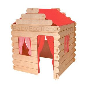 USA Made Natural Wood Children's Toys : Child's Log Cabin ...