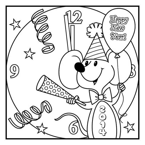 Cute Little Mouse Preparing For New Year Coloring Page Download Print Online Coloring Pages New Year Coloring Pages Christmas Coloring Pages Coloring Pages
