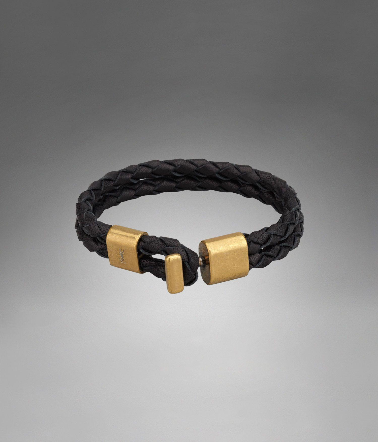 50c4f93340 YSL Braided Double Strap Bracelet in Black Leather - Jewelry ...