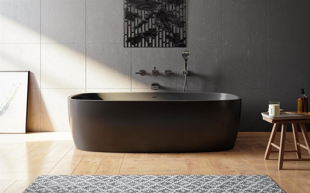 Aquatica Coletta Graphite Black Freestanding Solid Surface