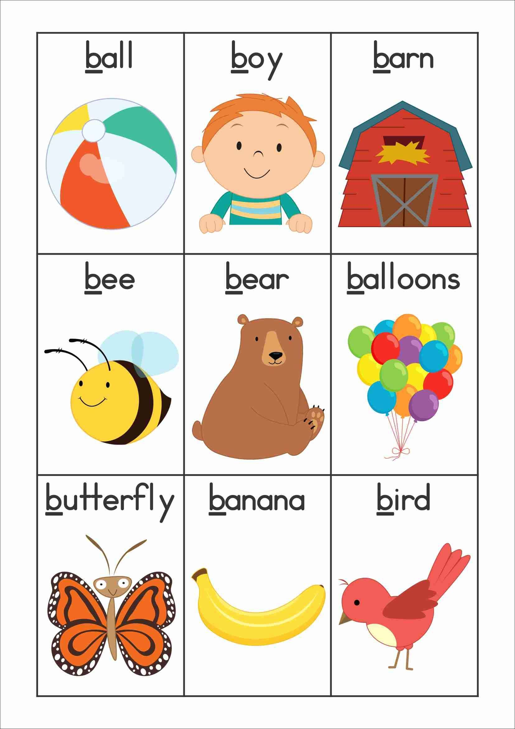 Words Start With Letter B Letter Template Free Phonics