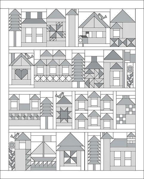 House Quilt Block Patterns : house, quilt, block, patterns, Neighbor, Quilt, Pattern-, Block, Creek, House, Patterns,, Quilts,, Patterns