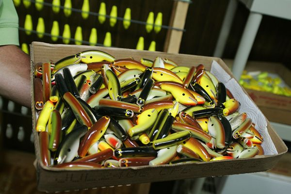 A box of unfinished crankbaits for fishing. Love all the chartreuse.