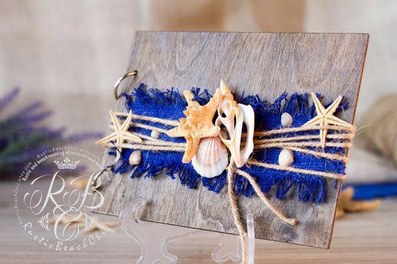 STRAND gastenboek - touw en zeester, schelpen - strand bruiloft…