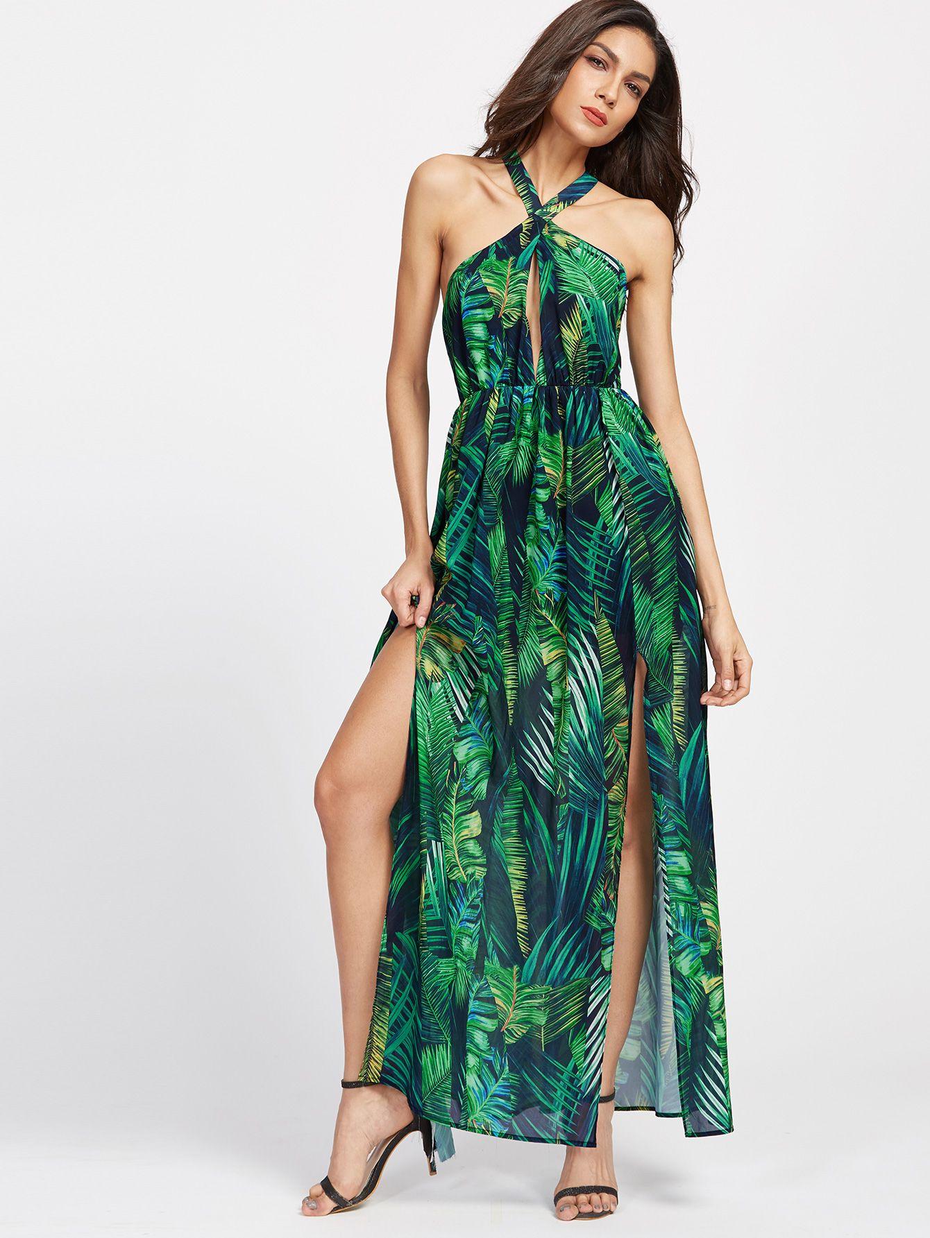 4bc2ec2d99 Shop Keyhole Cross Neck Foliage Print Backless M-Slit Dress online. SheIn  offers Keyhole