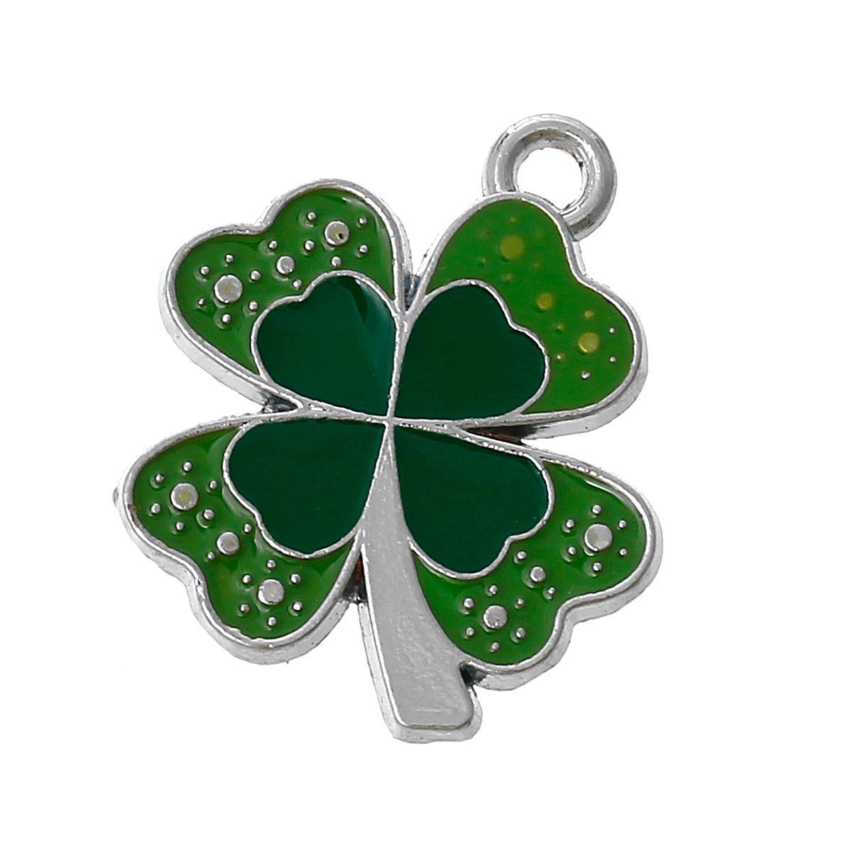 Silver & Green Enamel 4 Leaf Clover / Shamrock  4 @ £ 1.55 http://www.wickedprincessbeads.co.uk/