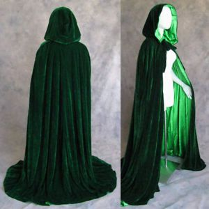 "Ivory Velvet Satin Lined Cloak Hooded Cape Wicca Wedding LARP SCA Ren Faire 50/"""