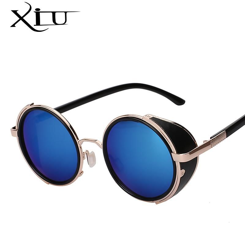 XIU Sunglasses Steampunk Men Sunglass Retro Vintage Round Metal Wrap Sunglasses Brand Designer Glasses UV400 – C8 Red mirror