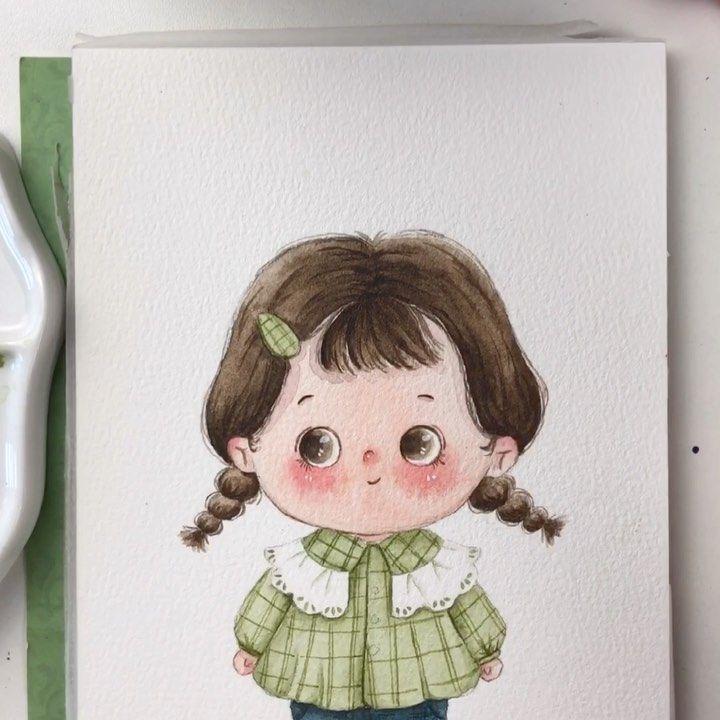 "zhao yang on Instagram: ""小可爱过程 #儿童插画 #illustrationforchildren #illustrationforkids #watercolor #watercolorvideos #watercolorpainting #aquarelle #aquarellepainting…"""