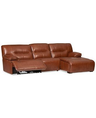 Beckett 3 Pc Leather Sectional Sofa With Chaise U0026 1 Power Recliner, Created  For Macyu0027s