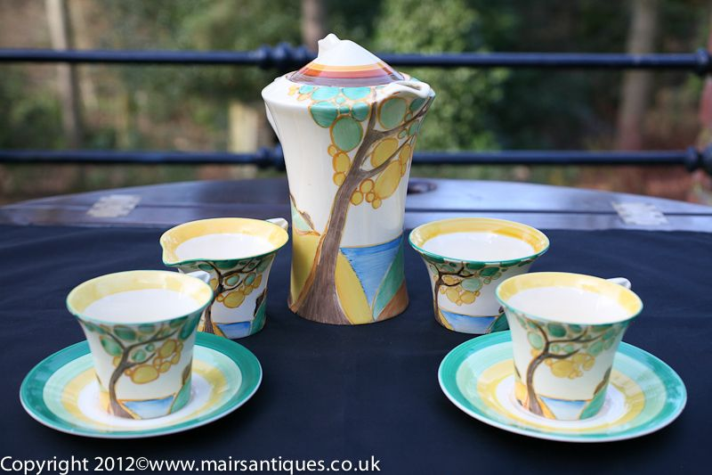 Fabulous Clarice Cliff Coffee Set for Two produced in Secrets Pattern Circa 1932