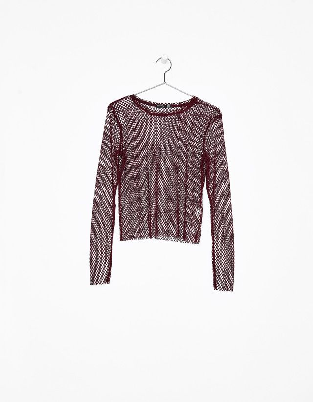 Long sleeve mesh T-shirt - Bershka #long #sleeve #mesh #tshirt #bershka