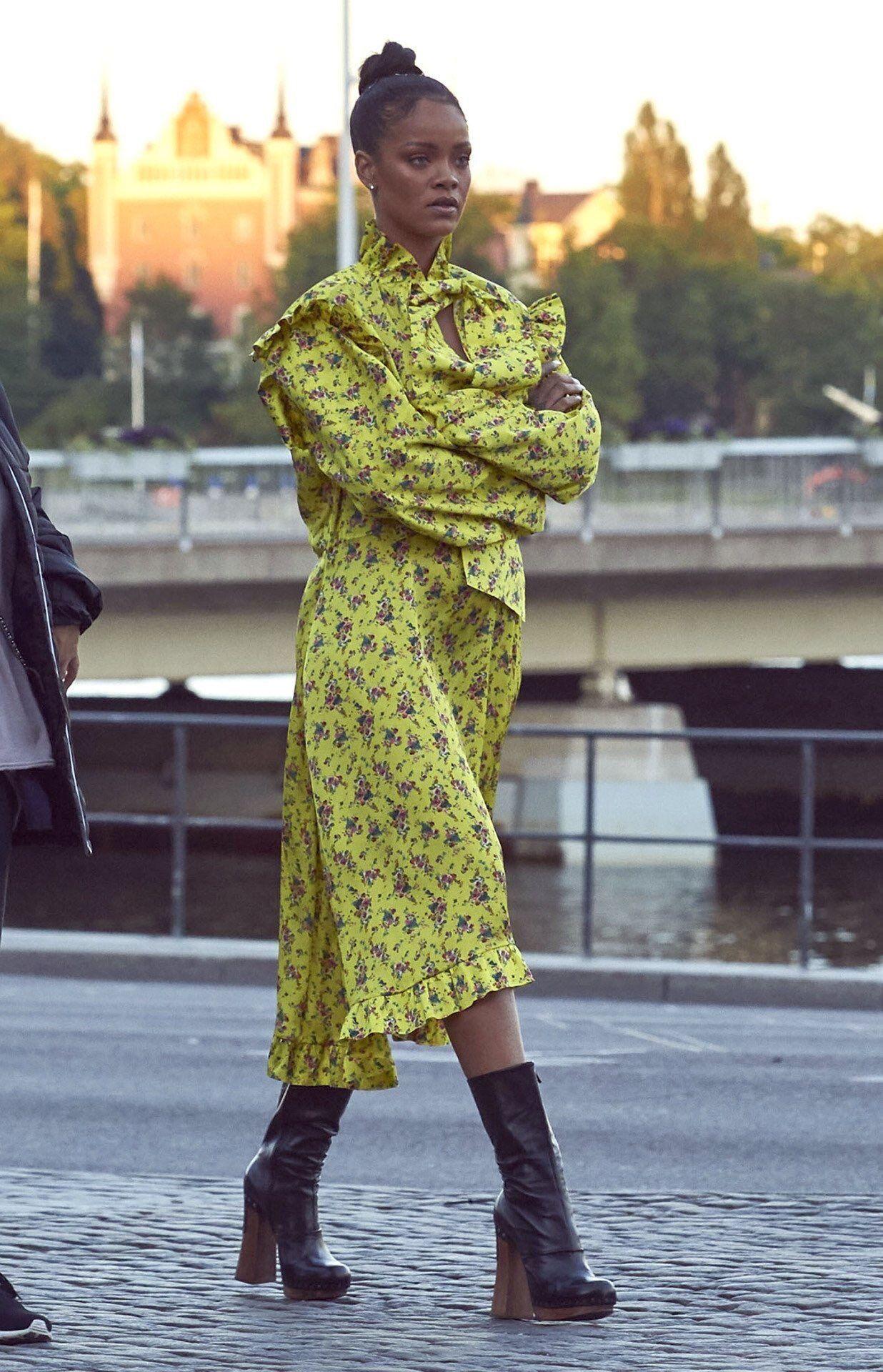Yellow dress rihanna  Vetments dress and Prada boots Pinterest KarinaCamerino  яιяι