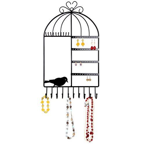 Arad Vintage Inspired Birdcage Wall Mount Jewelry Organizer Holder