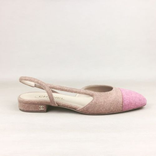d74502ff85 New CHANEL Beige Pink Wool Tweed CC Logo Slingback Shoes Heels Flats 40.5