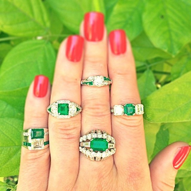 Emerald envy at #CraigEvanSmall with these incredible #vintage #emerald and #diamond #rings! #vintagejewelry #vintagering #engagementring #diamonds #TiffanyandCo #JECaldwell