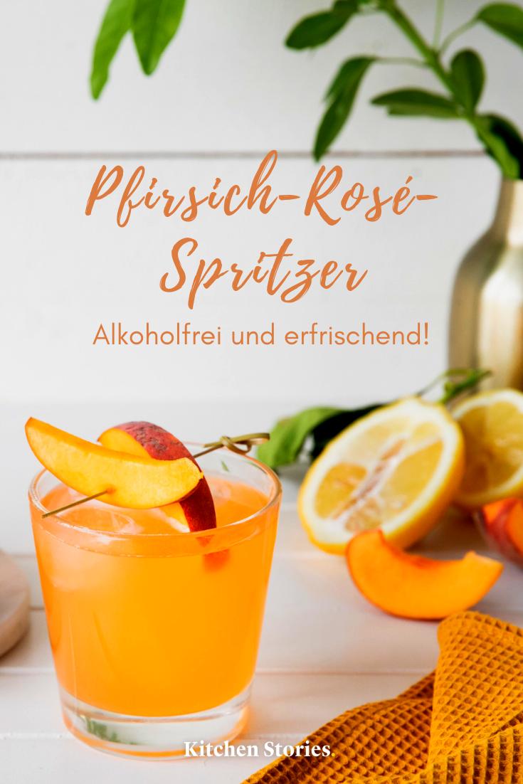 Alkoholfreier Pfirsich-Rosé-Spritzer | Rezept mit Videoanleitung