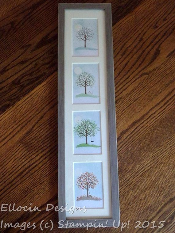 Four Seasons Hand Stamped Framed Vertical Wall Art Made