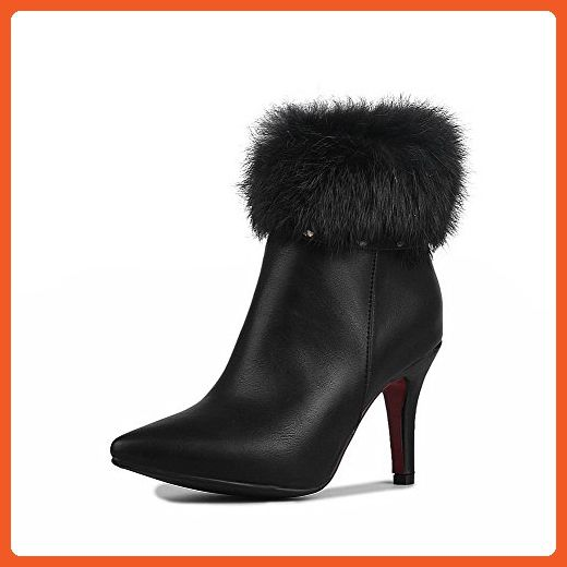 Women's Zipper Pointed Closed Toe High-Heels PU Low-Top Boots