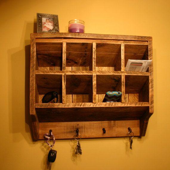 Key Rack Holder Wall Organizer Reclaimed Wood Mail