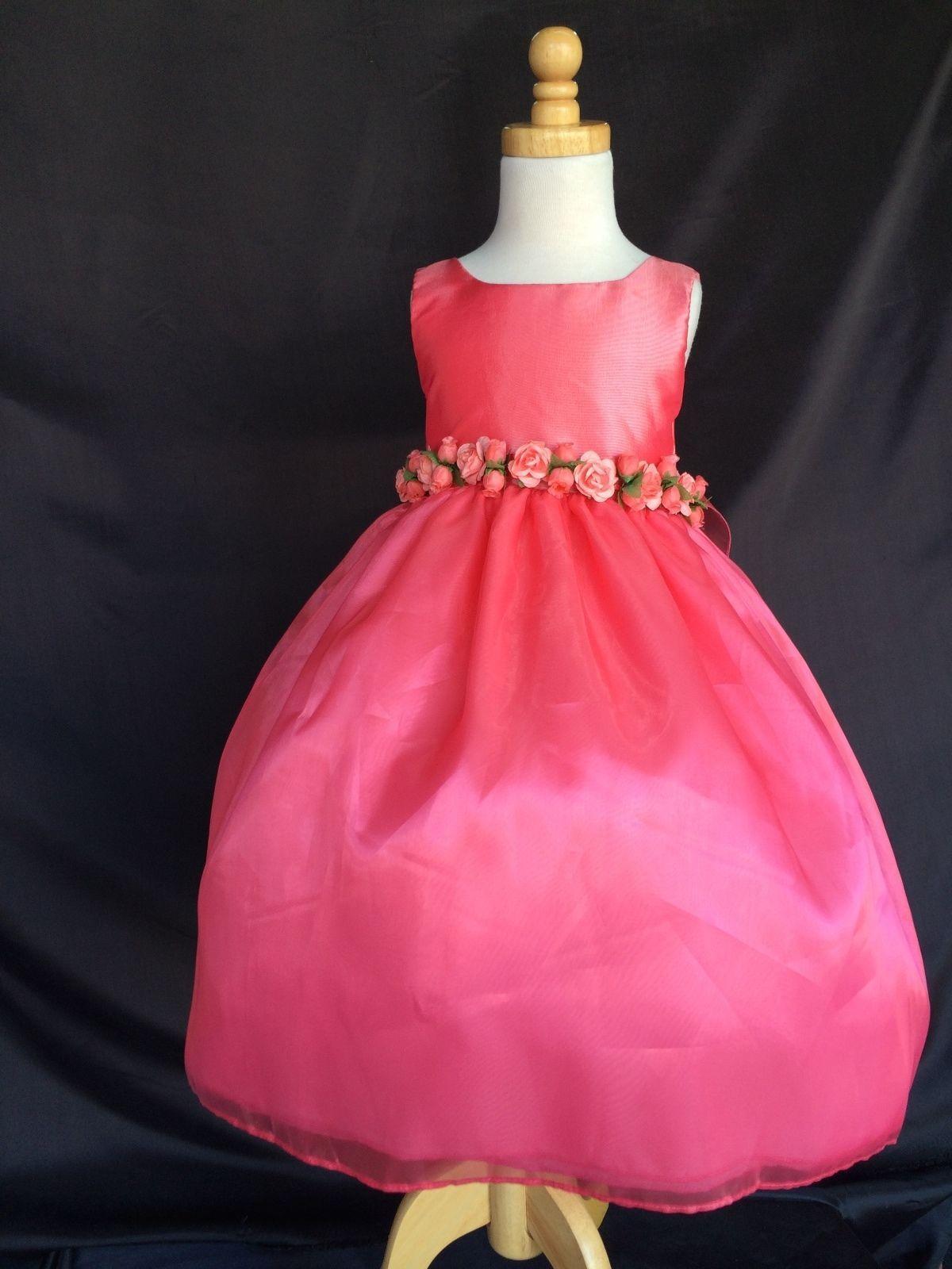 Coral 803 Flower Girl Bridesmaids Elegant Summer Toddler Girl Dress #35