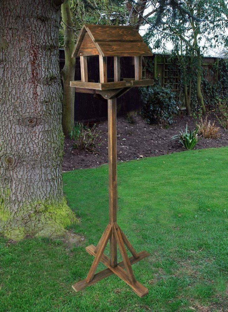 Bird Table With Built in Feeder Premium Wooden Free Standing Feeding Station