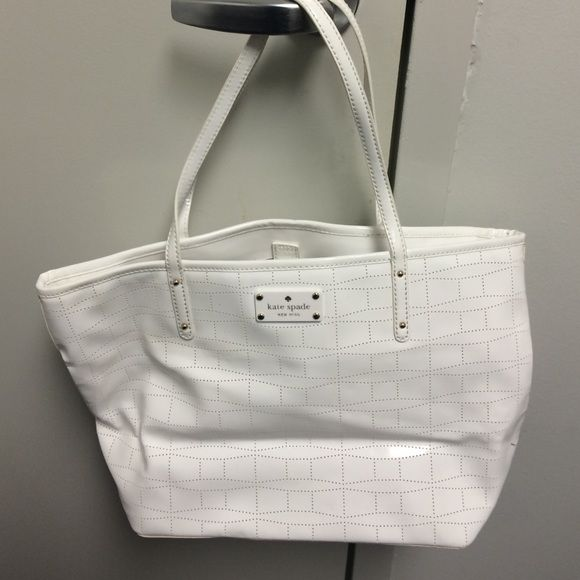 kate spade signature spade punched whiteout tote kate spade tote bought from nordstorm,90% new,never used,patent leather kate spade Bags Totes