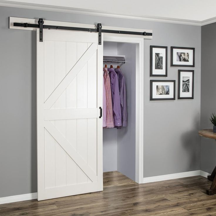 Truporte 36 In X 84 In Off White K Design Solid Core Interior Barn Door With Rustic Hardware Kit Bd052w01wt1wtg36084 The Home Depot Barn Door Closet White Barn Door Interior Sliding Barn Doors