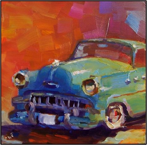 lil darlin 6x6 oil on panel old vars antique cars buick