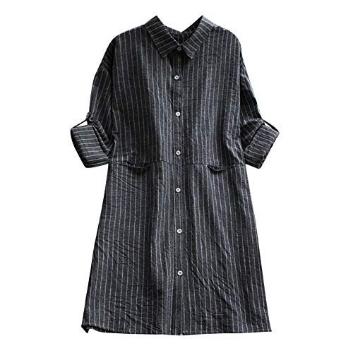 5a2b961ae9a Womens Dress DEATU Clearance Ladies Casual Long Sleeve Cotton Linen Striped  Dresses with Pockets(BlackM)