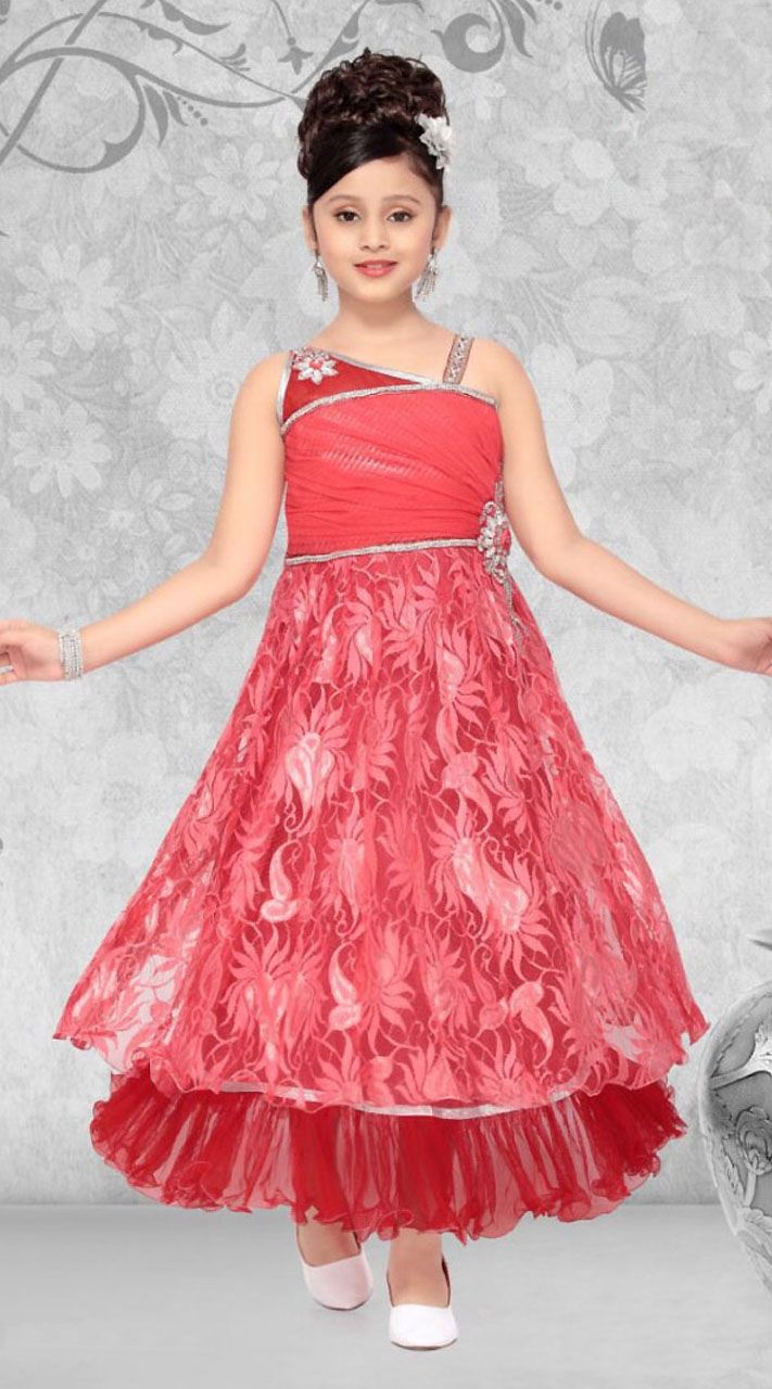 Trendy Light Red Net Designer Readymade Princess Kids Gown | Kids ...