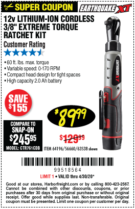 Earthquake Xt 12v Max Lithium 3 8 In Cordless Xtreme Torque Ratchet Wrench Kit For 89 99 In 2020 Harbor Freight Tools Ratchet Coupons