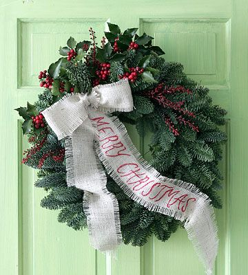 Christmas or winter  wreath  you can change the bow out to blue for Jan. new year