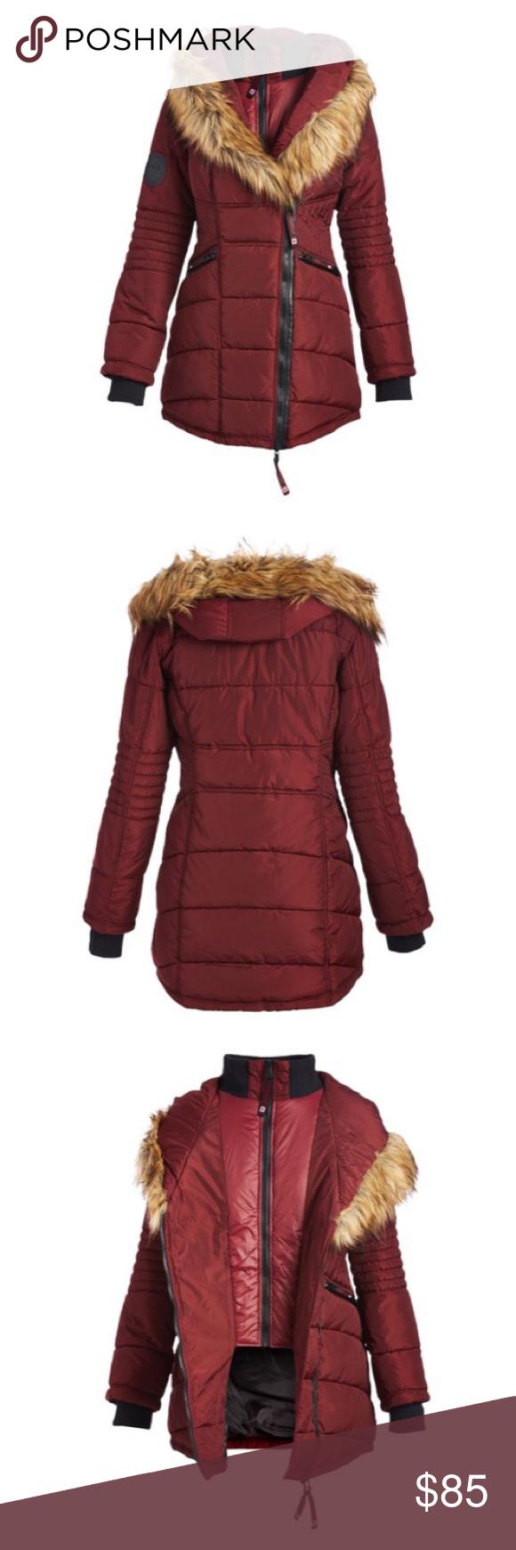 Nwt Canada Weather Gear Wine Puffer Coat Sz S Puffer Coat Clothes Design Coat [ 1740 x 580 Pixel ]