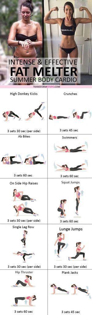 ⭐️ Wie man Fett schmilzt? Sommer Cardio Workout für Frauen! Intensiv und effektiv ...   - Fitness -...