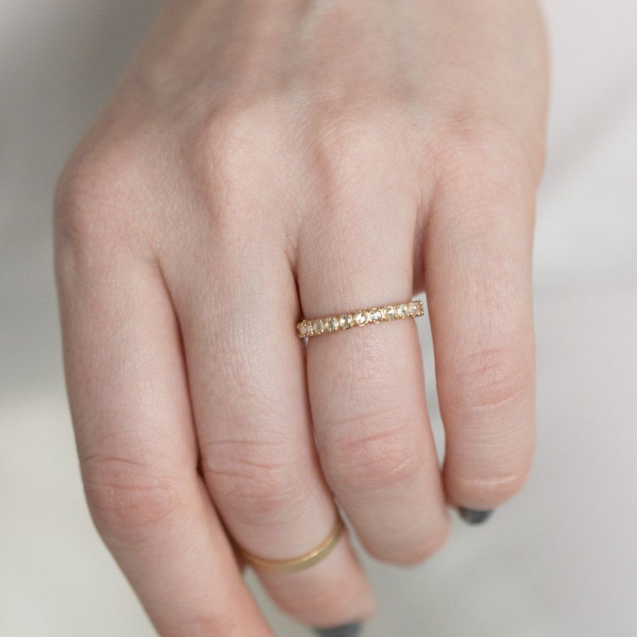 Vintage Inspired White Diamond Eternity Wedding Band in 14k Yellow ...