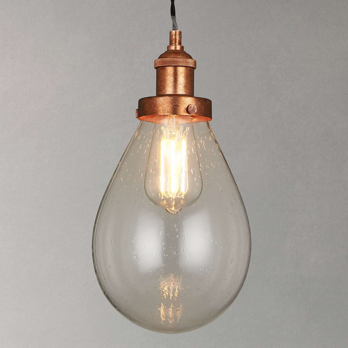 John Lewis Radley Glass Bistro Pendant Ceiling Light, Clearcopper Online