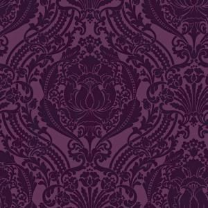 The Wallpaper Company 56 Sq Ft Purple Grandiose Damask WC1281419 At Home Depot