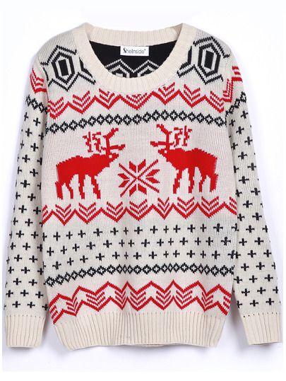 Shop Beige Long Sleeve Deer Print Christmas Xmas Warm Nicest Loose Pullovers…