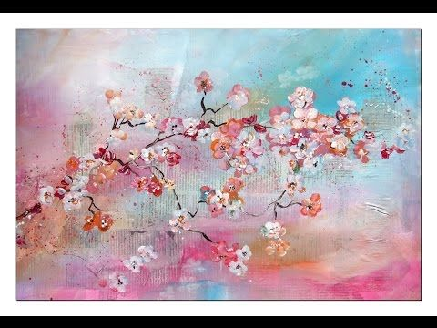 Floral Painting with acrylic colors Demo , Blumen malen in