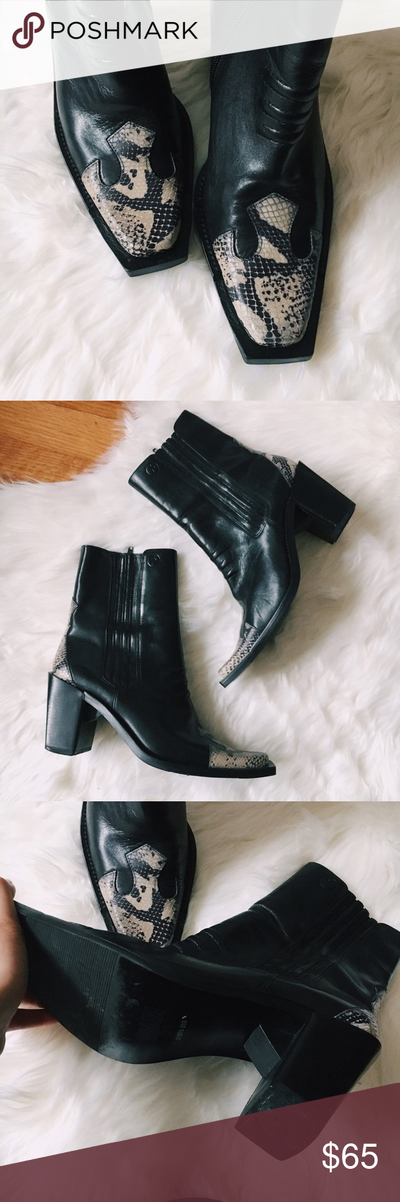 Vintage Western Boots Flawless condition vintage western boot with super cute detailing on the toe & heel. 100% leather. Limitless ways to style these bad boys 💘 Shoes