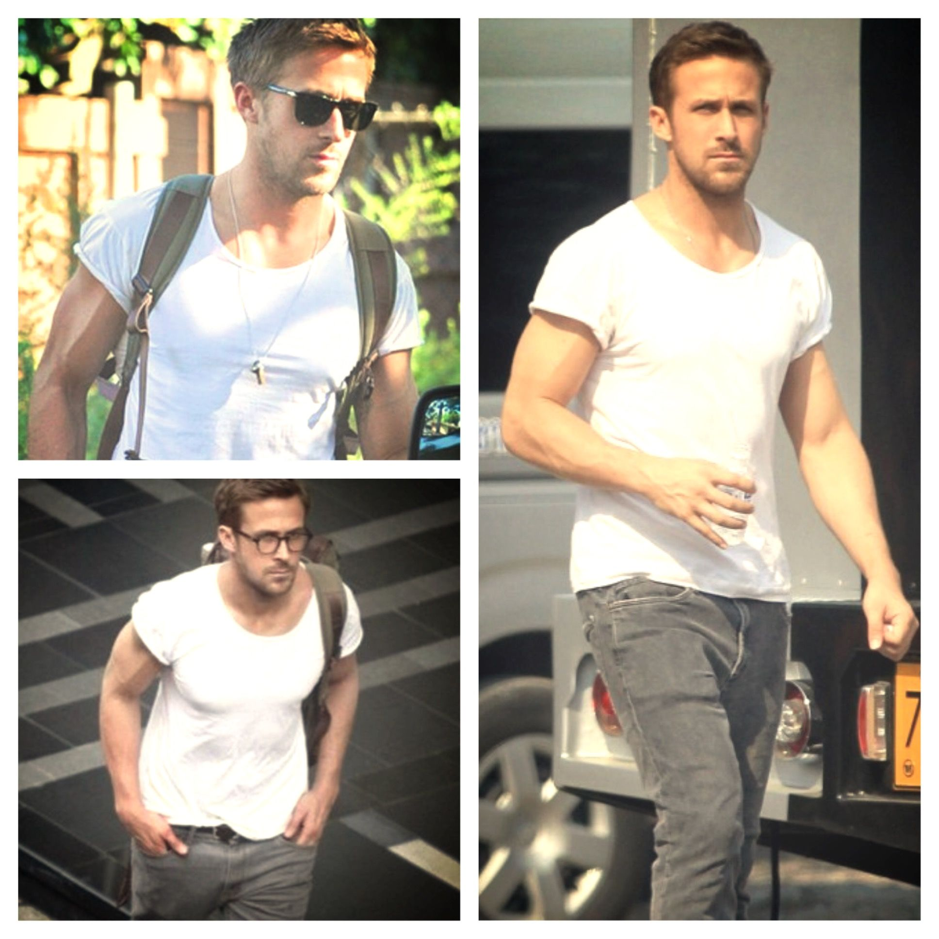 Ryan Gosling Arms White Tee - Arms Workout - The Secrete To Toner, Bigger, or Sexier Arms is all about balls. People spend too much time with dumbbells and curl bars when they should be spending a lot more time with a pair of balls.