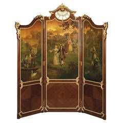 Exceptional Kingwood And Vernis Martin Three Fold Screen