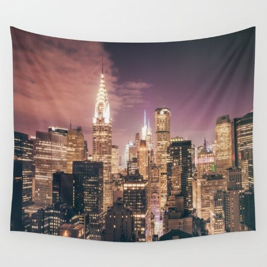 Tapestry Walltapestry Newyorktapestry Newyorkwalltapestry Citylightstapestry New York City Empirestatebuilding Chrysler Building Nyc Rooms Wall Tapestry