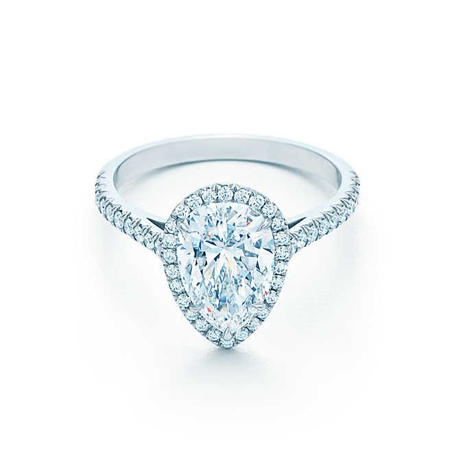 a91b0f4e5 Tiffany Soleste® Pear Shape Halo Engagement Ring with Diamond Band ...