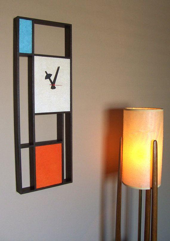 Mid Century Modern Art Mondrian Clock In 2019 Mid