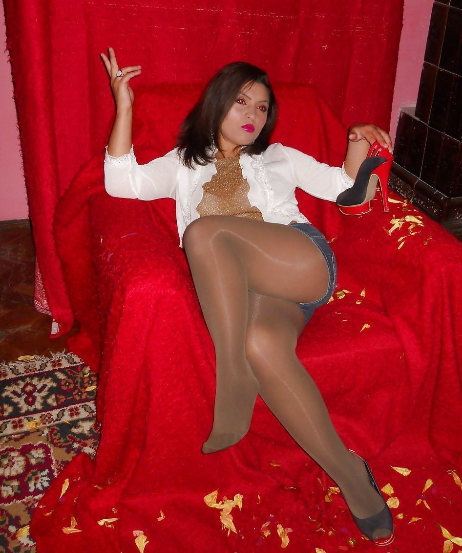 Asian girl in red pantyhose