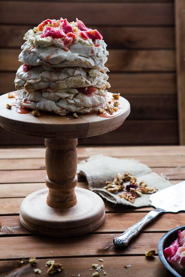 Walnut Rhubarb Pavlova | Multiculti Kitchen