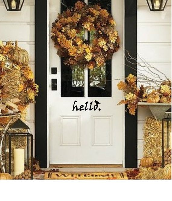 Halloween Hello with Crow. Spooky Front Door by WelcomingWalls $9.